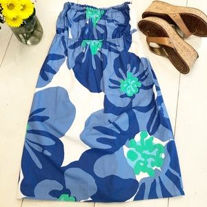 LILLY PULITZER Cotton blue floral strapless dress